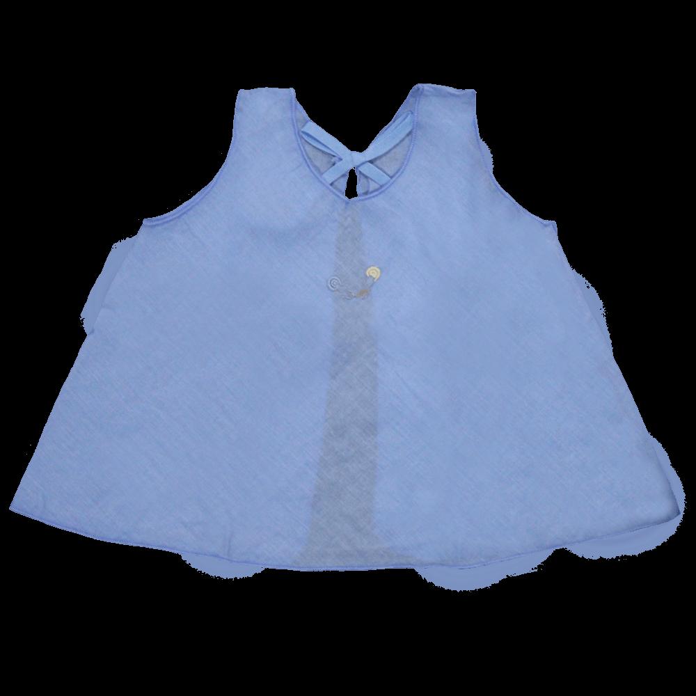 Velona Newborn Embroidered Baby Shirt Set- Blue