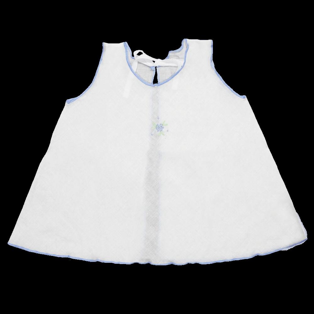 Velona Large Embroidered Baby Shirt - Blue Border