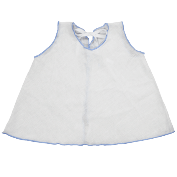 Classic Muslin Baby Shirt with pastel border in blue