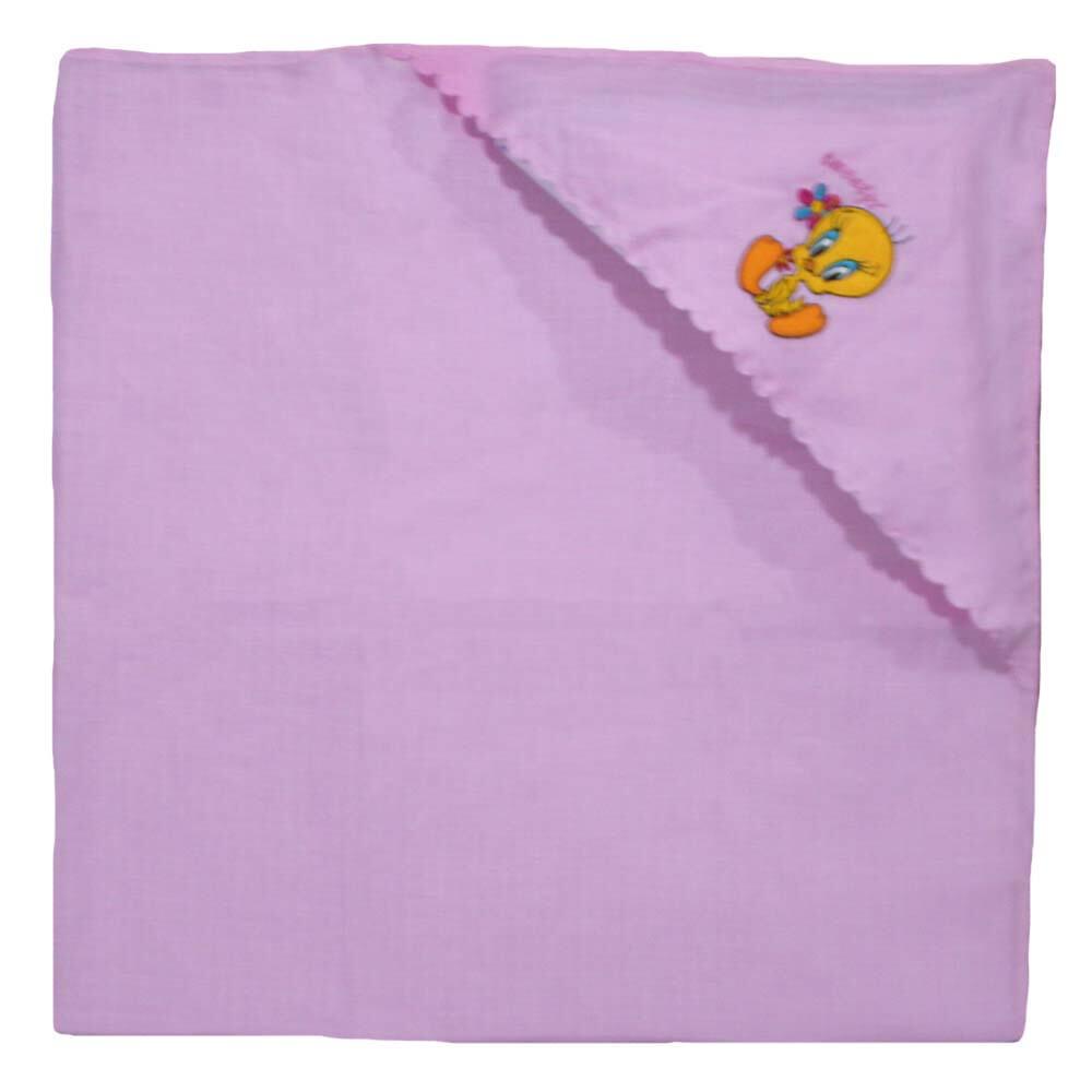 Hooded Muslin Baby Blanket in Pink