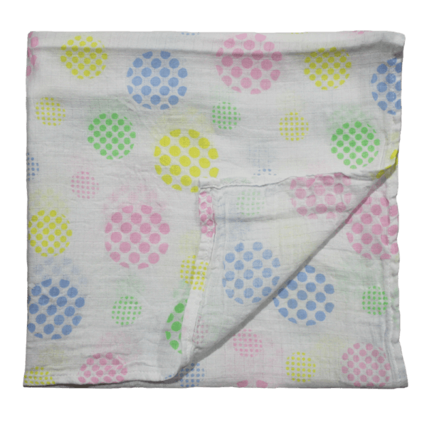 Velona Muslin Towel with Multicoloured Polks Dots
