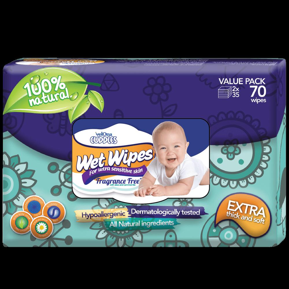 Velona Cuddles Gentle Fragrance Free Baby Wipes