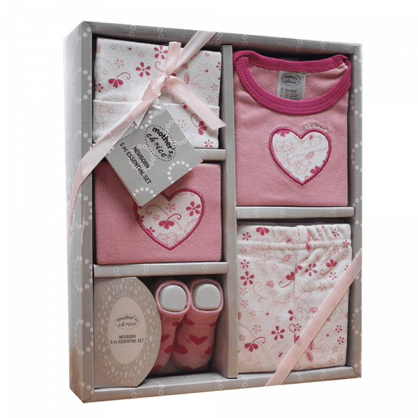 5pc newborn gift set in pink