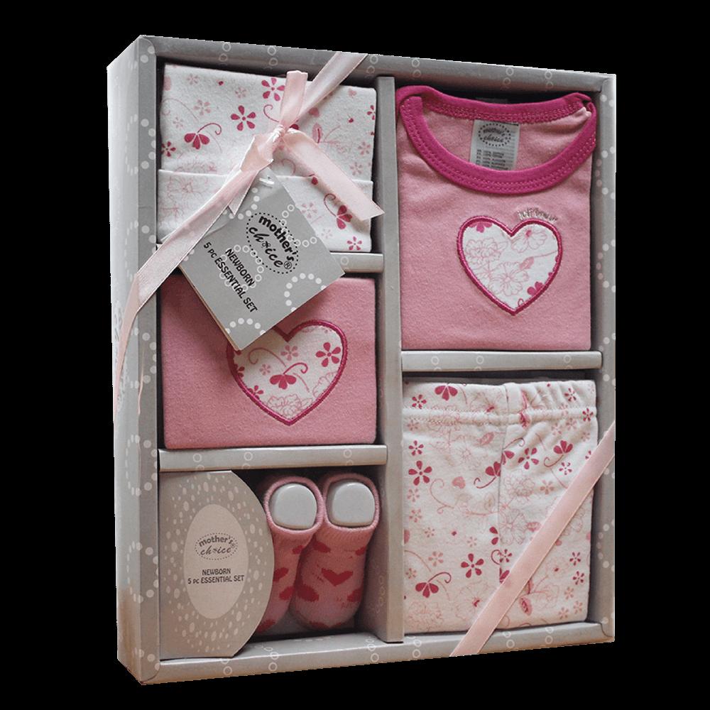 5pc newborn gift set in pink