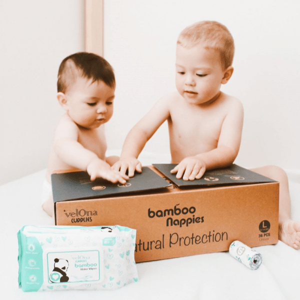 Babies playing with Velona Cuddlies Bamboo DIapers