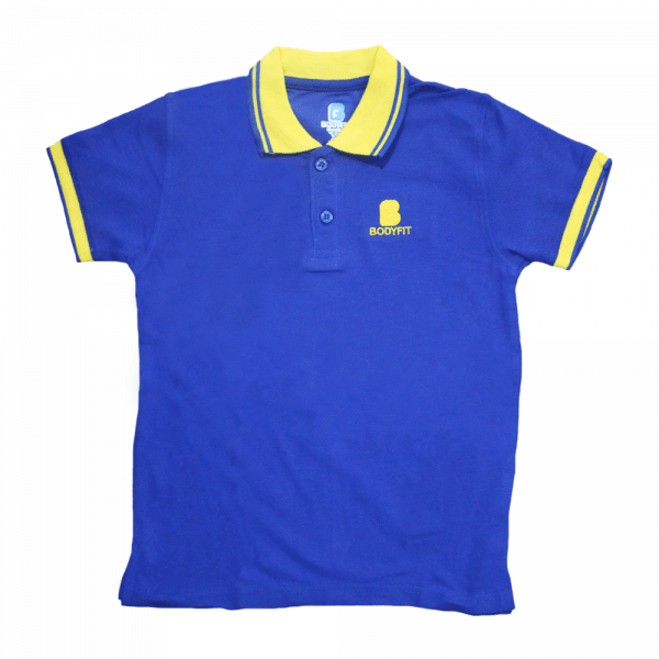 Bodyfit Blue & Yellow Polo Shirt