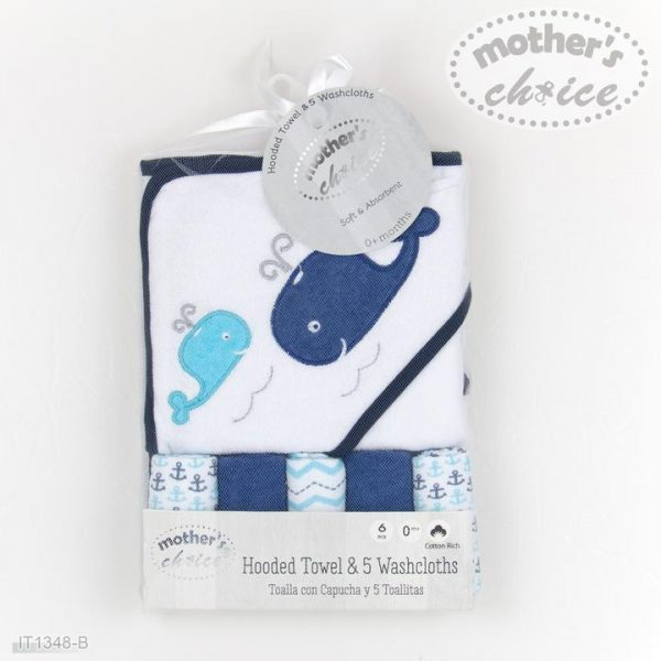 6pc bath linen set - whales