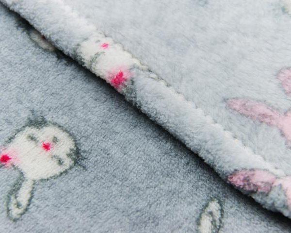 Close up of grey fleece blanket