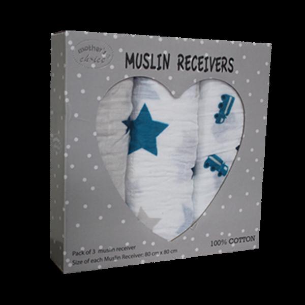 Pack of 3 Muslin Receiving Blankets